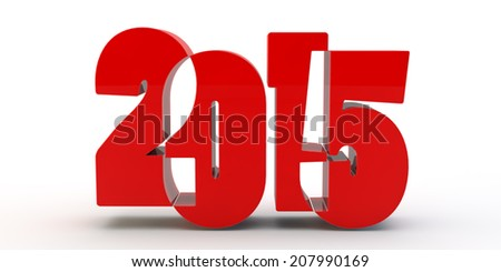 red figures 2015 with cut front view - stock photo