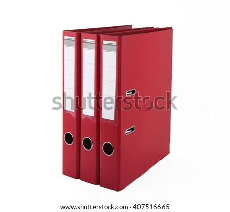 Red files folder, isolated on white background  - stock photo