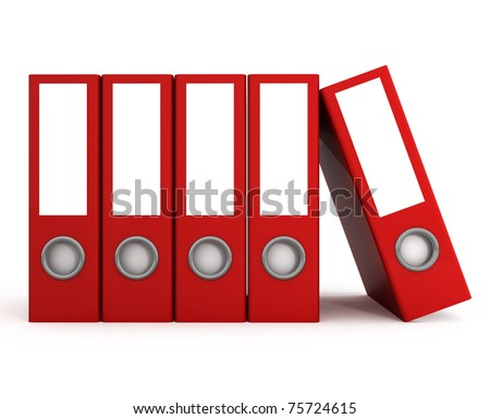 Red Files Folders isolated on white - 3d illustration - stock photo