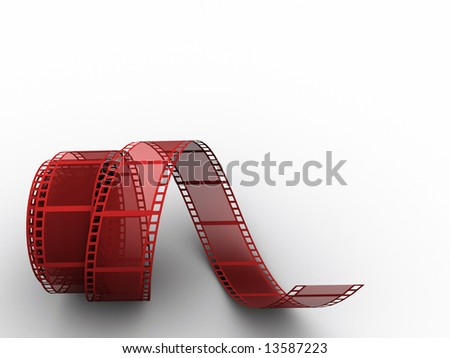 Red film strip on white background - 3d render