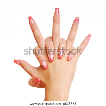 Red fingernail. Excellence woman hand. Manicure.