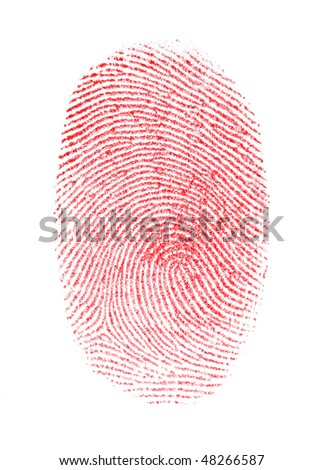 Red Fingerprint - stock photo