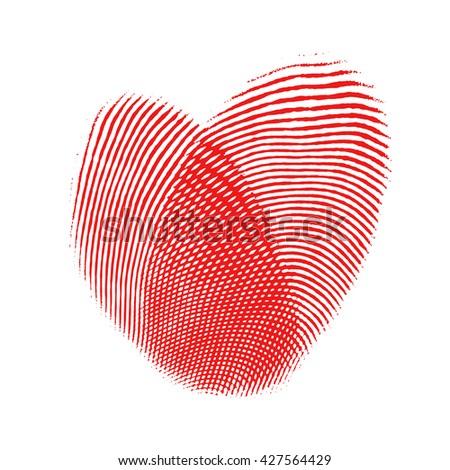 Red fingerprint heart, isolated on white background, digital illustration art work. - stock photo