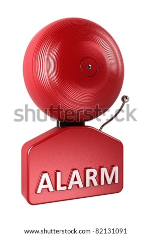Red fire alarm bell isolated over white background - stock photo