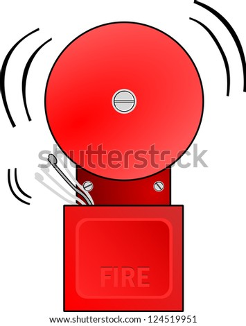 Red fire alarm goes off and rings the bell.