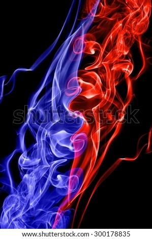 red fire and blue fire background,Red and blue fire on black background