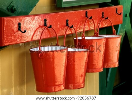 Red Fire Buckets - stock photo