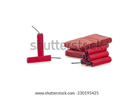 Red Fire Cracker isolated on white background - stock photo