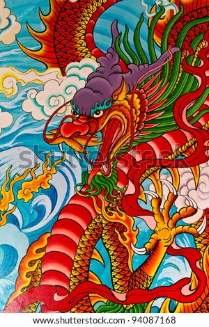 Red fire dragon painting in Chinese temple in Thailand - stock photo