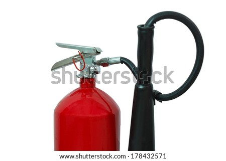 Red fire extinguisher, isolated on white - stock photo