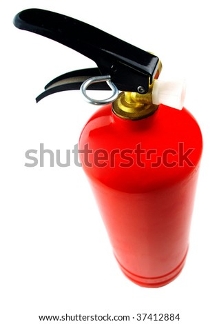 Red fire extinguisher on white background - stock photo