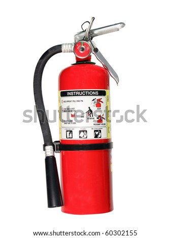 red fire extniguisher isolated with clipping path at this size - stock photo