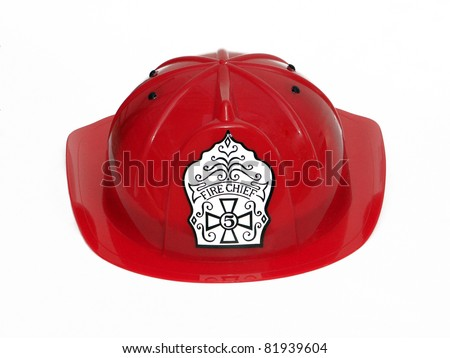 Red Fire Fighter Fireman Helmet Hat isolated on white background - stock photo