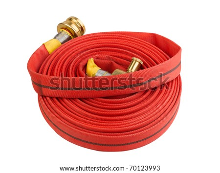 Red fire hose extension soft pipe isolated on white - stock photo