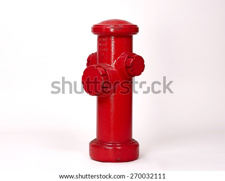 Red Fire Hydrant isolated on White Background. Front View of a Classic Street Hydrant with Text Space - stock photo
