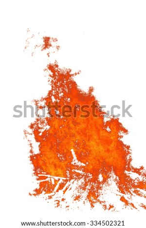 red fire tongue on white background