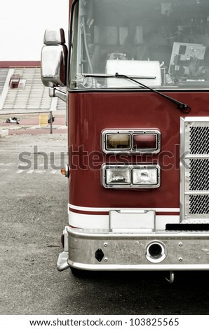 red fire truck - stock photo