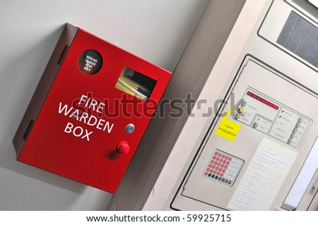 Red fire warden box for concepts such as emergency, fire, help, and assistance. - stock photo