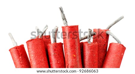 Red Firecrackers isolated on white - stock photo