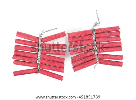 Red firecrackers isolated on white background.Firecrackers - stock photo