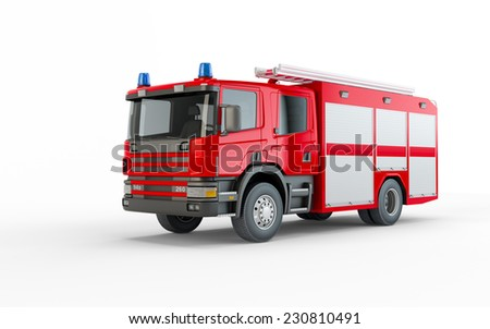 Red Firetruck isolated on a white background - stock photo