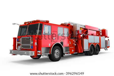 Red Firetruck perspective front view isolated on a white background