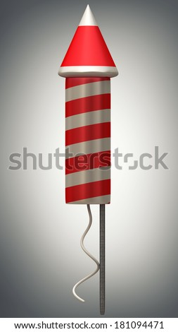 Red fireworks rocket. High resolution 3d render  - stock photo