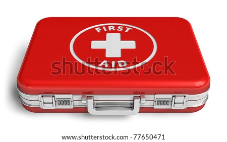 Red first aid case isolated on white background
