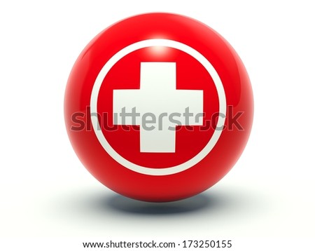 Red first aid medical cross sign. 3d render illustration. - stock photo