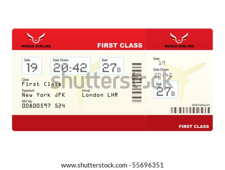 Red first class plane ticket with gate number and seat - stock photo