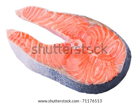 Red fish slice closeup isolated on white