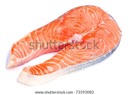 Red fish stake closeup isolated on white