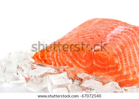 Red fish with ice slices on a white background - stock photo