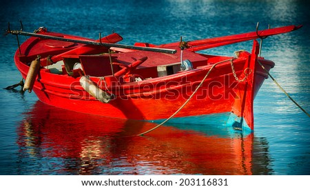 red fishing boat