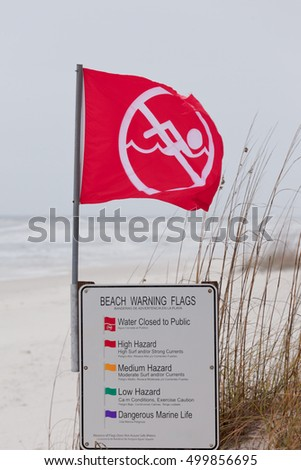 Red flag an sign on Gulf Coast Beach signal Water closed to public and prohibit swimming in ocean due to dangerous surf, undercurrent and storm conditions