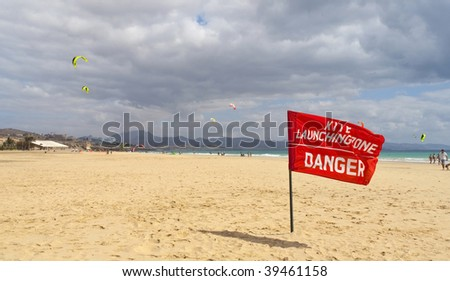 Red flag in a danger kite launching area