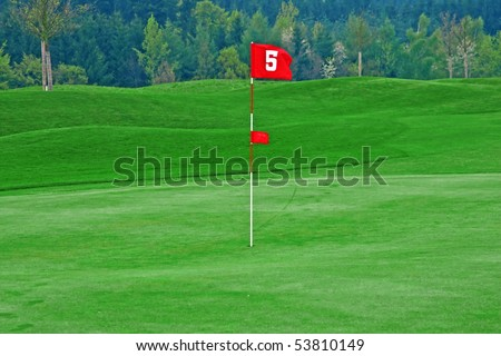 Red flag on the golf course - stock photo