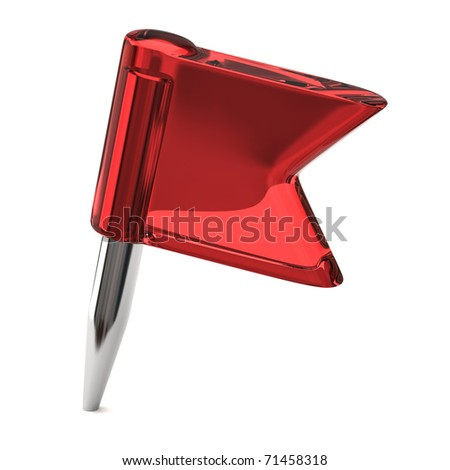 red flag pin on a white background - stock photo
