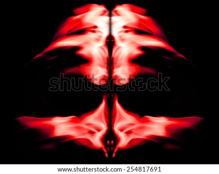 Red flame graphics on a black background.