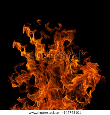 Red Flame Halloween Autumn Fiery Background Greeting Design With Scary Flaming Burning Wall Of Frightening Flames, Hot Hell Inferno Glowing Fire Light Flyer Isolated On Black With Copy Space For Text  - stock photo