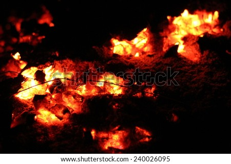 red flame on logs in the stove - stock photo