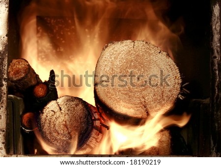 red flames and firewood energy, hot fire - stock photo