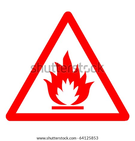 Red flammable sign - stock photo