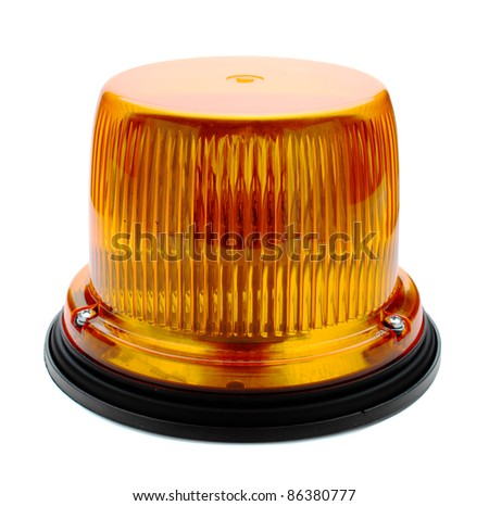 Red flashing beacon isolated on white. - stock photo