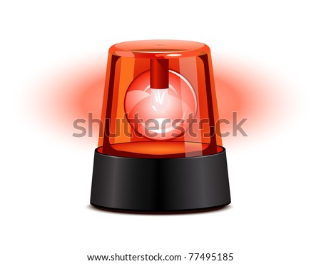 Red flashing light over a white background - stock photo