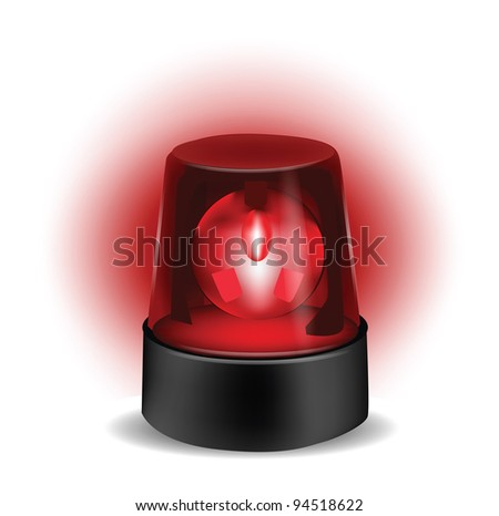 Red Flashlight isolated on white - stock photo