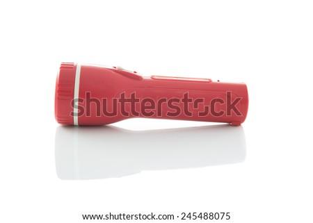 red flashlight  Isolated on white background - stock photo