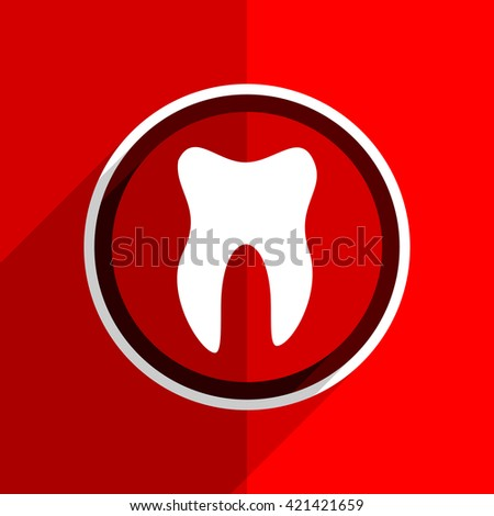 red flat design tooth web modern icon