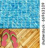 Red Flip Flop on Wood Floor pool edge with surface of water background - stock photo