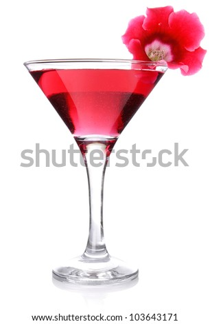 red floral cocktail isolated on white background - stock photo